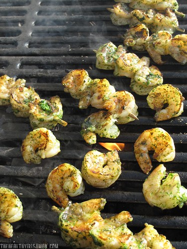 Grilled Cilantro Pesto Shrimp