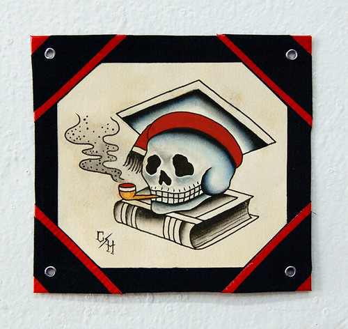 Scholarly Skull Tattoo Flash in the timeless American Traditional Style