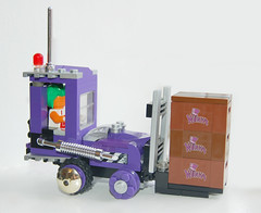 Wonka Lifter (Craig 'Lego' Lyons) Tags: purple lego chocolate vehicle wonka willy forklift loompa oompa