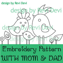 with mom and dad (revi1001) Tags: tree bird nature modern birdie forest pattern hand stitch embroidery doodle kawaii owl etsy graden whimsical revidevi revi1001
