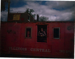 illinois central (EllenJo) Tags: vacation me polaroid illinois caboose il southelgin familyvisit 2009 saturdaymorning landcamera illinoiscentral automatic100 foxrivervalley foxrivertrolleymuseum fujifp100c ellenjo ellenjoroberts august2009 summertimeinillinois