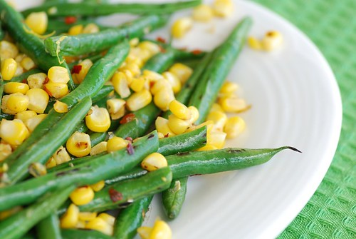 quick corn and string bean saute