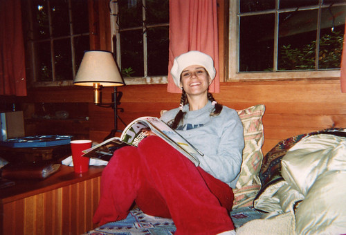 Camping in a beret and red velour pants