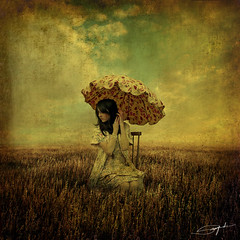 Summer Song (swinspeed) Tags: summer sky art texture girl grass digital umbrella artwork chair alone song grunge manipulation swinspeed