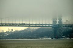 George Washington Bridge, Hudson River, New York City (jag9889) Tags: city nyc bridge red lighthouse ny newyork fog puente crossing suspension little manhattan bridges ponte pont hudsonriver brcke gw gwb waterway georgewashingtonbridge washingtonheights wahi othmarammann panynj portauthorityofnewyorkandnewjersey k007 y2008 jag9889