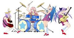(oapbtommy) Tags: anime rock electric japan set star drum bass guitar band lucky animation  microphone bassist drummer mic miyuki takara guitarist izumi vocal  kagami    tsukasa     konata   hiiragi