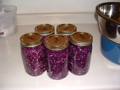Freshly Canned Red Sauerkraut