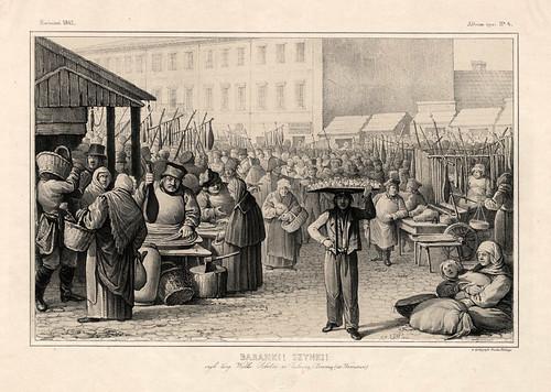 006-Mercado venta de dulces y jamon en primer plano-Varsovia 1841-Album de dibujos de Varsovia- Piwarski