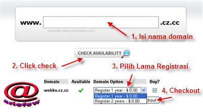 Pilih nama domain gratis