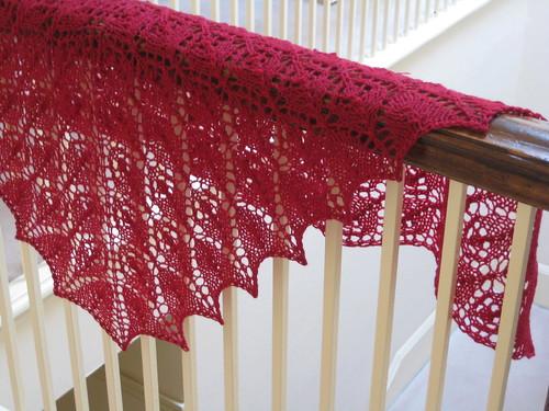 Scarlet Flower basket shawl