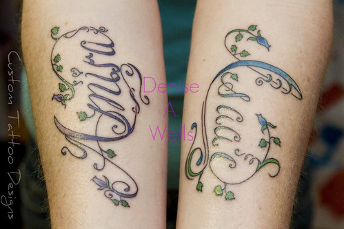 Fancy Script Lettering Tattoo designs by Denise A. Wells