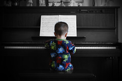 The Piano (BHagen) Tags: blackandwhite bw baby playing color kids photoshop kid funny piano somecolor