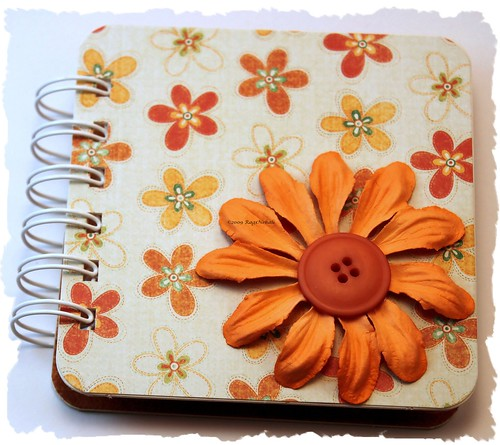 Orange Floral Post It Note Holder