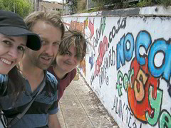 Telana, Adin and Carol by Adin's graffiti message