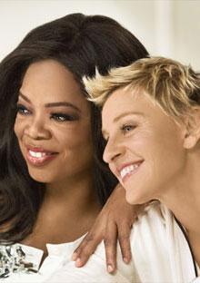 A photo of Oprah and Ellen posing for the December 2009 cover of O Magazine