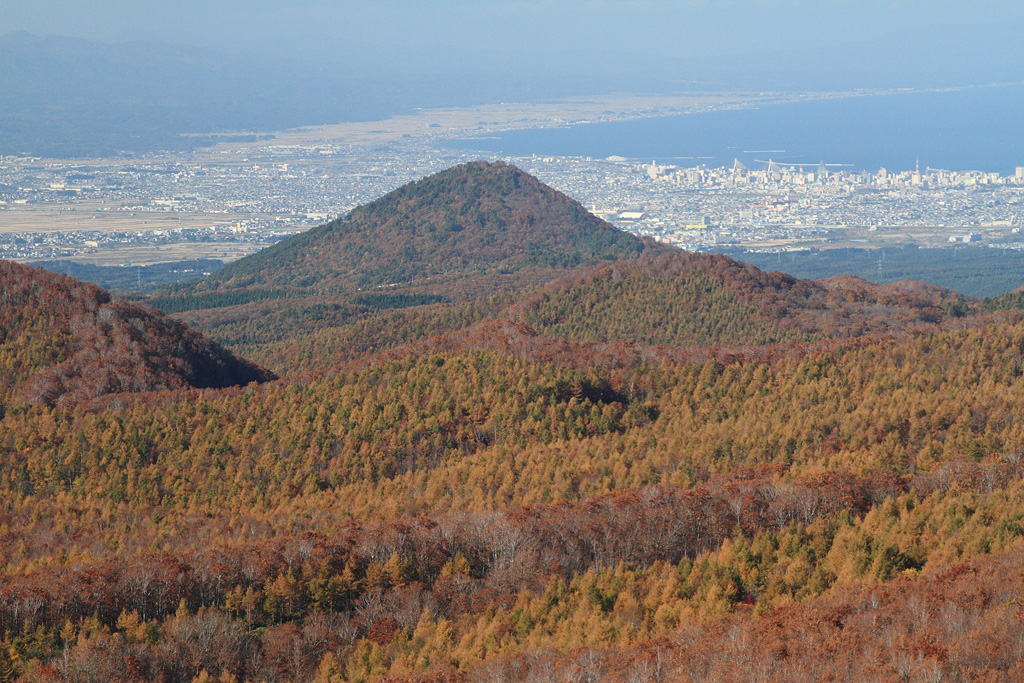 Autumn colored forest and Aomori City