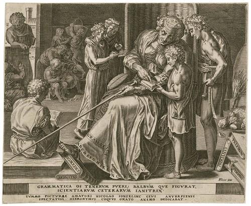 Grammatica -- Grammatica os tenerum pueri - Cornelis Cort 1565 (Cock, Floris) (Folger)