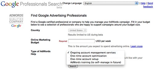 Google Advertising Professionals Search