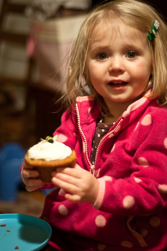 Look Dad! It's a cupcake! With a BEE ON IT!