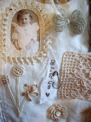 stitching sampler (skblanks) Tags: flowers vintage french ruffles photo key sampler embroidery antique crochet mother silk button tray stitching ribbon pearl cloth brass knots rosettes laces burlap damask shabby scrim ruching grosgain inchie
