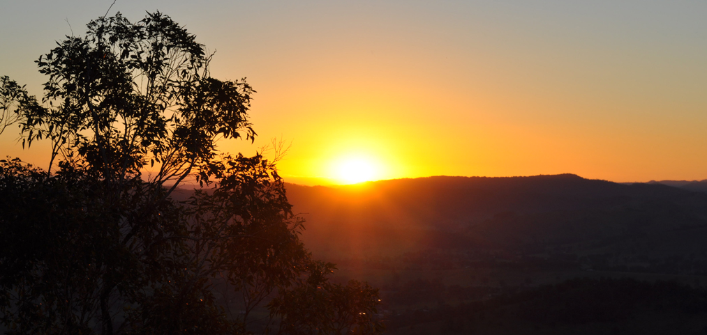 Lakshmana, Veronica, Lise and I trekked to the lookout point at Yoga in Daily Life in Dungog on the perfect day for a sunset. Photo by Bobbi Lee Hitchon