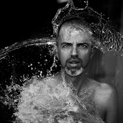 Stefano (.unsuono.) Tags: portrait water face square bn splash stefano fratello unsuono
