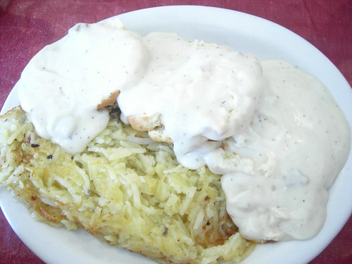 Biscuits and gravy with hash browns. Full oder