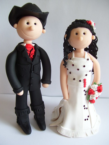 Handcrafted OOAK Fimo cowboy themed personalised wedding cake toppers