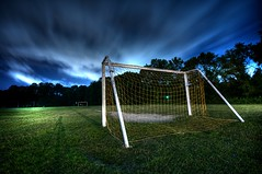190/365 - soccer (djdphotos) Tags: blue green net yellow night clouds goal nikon action soccer sigma futbol 1020 hdr d90 project365 tonemapped yesthatsmytripodsshadow couldaphotoshoppeditout butilikemycameragettingtoplayacameo