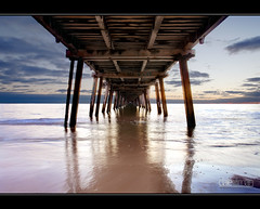 Henley Jetty, Underside II (Dale Allman) Tags: ocean sunset beach nature water clouds surf waves jetty adelaide canon5d southaustralia 1740 henleybeach photomatix henleyjetty canon5dmark2