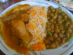 Punjab Kebab House in San Francisco - Chicken Korma curry, chick peas and rice