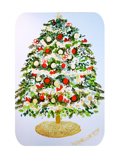 Original Watercolor Painting of a Christmas Tree