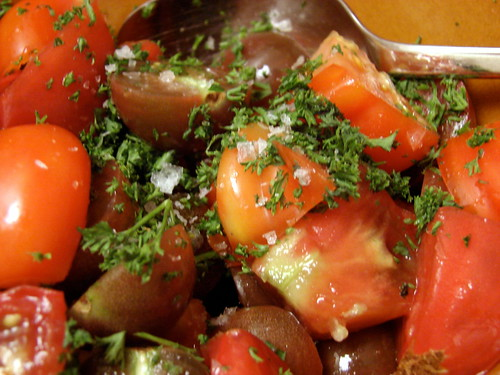 heirloom tomatoes, parsley, Maldon