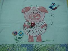 Outra porquinha (*Sonhos em Retalhos*) Tags: fuxico patchwork cozinha patchcolagem panodeprato
