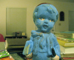 blue boy (giveawayboy) Tags: blue boy statue umbrella ceramic book september figurine curio paintover