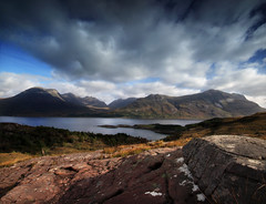 Beinn Alligin and Liathach, Upper Loch Torridon. (freeskiing) Tags: autumn sea mountains clouds scotland highlands westcoast torridon westerross liathach lochtorridon dramaticcloud highlandsofscotland beinnalligin upperlochtorridon ndgrad09 benthorburn