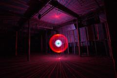 Red Lasers (Pensans) Tags: blue light red green abandoned night painting scary factory spooky torch mysterious laser ghostly unexplained apparition lairds