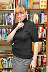 """I look awesome today. I've gone with naughty librarian as my look of the day. Stupid business dress week…"""
