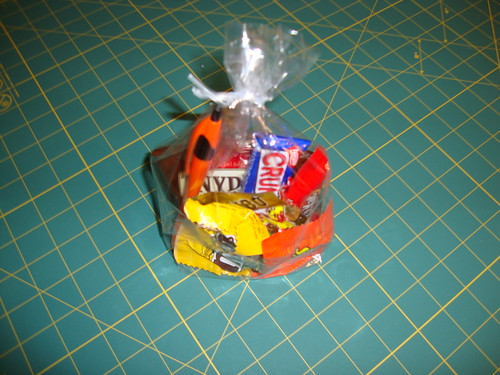 Parting gift: pretzels, m&ms, kit kat, reese's peanut butter cup, nestle's crunch, gummy bears and a pen!