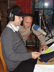 David records his lines as Bodo provides direction