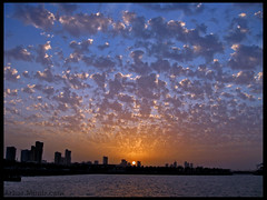 Sunset (Azarbhaijaan) Tags: blue sunset sea sky sun water yellow clouds kuwait munir azhar baghdadi azharmunir drpanga
