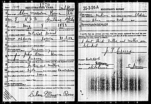 my great grandpa's WWI draft registration card