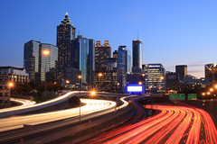 Electric Atlanta (AJ Brustein) Tags: atlanta sunset usa cars skyline night america canon georgia aj landscape lights downtown cityscape atl tail north headlights ave streaks brustein 50d platinumheartaward