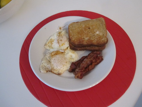 eggs, bacon, toast at home