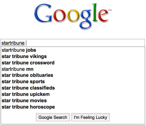 StarTribune Autocomplete on Google