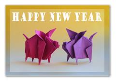 Viel Glück im neuen Jahr! (steffi's) Tags: paper pig origami craft folded papel handicrafts papier carta schwein papercraft 折紙 おりがみ 折り紙 falten glücksschwein nguyenhungcuong かみ 纸的 origamipig origamischwein porcodeorigami