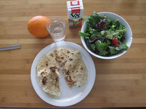 Chicken and cheddar tortillas with salsa, salad, orange, V8