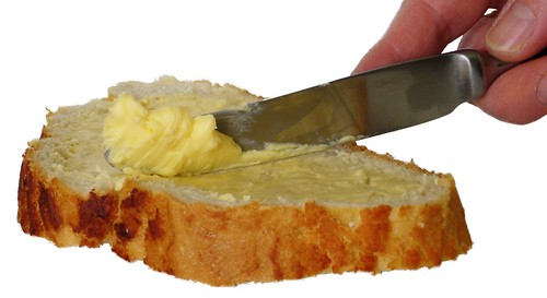 buttering bread