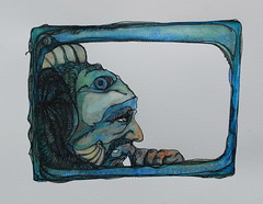 Issue Fish (elizabethahlem) Tags: blue fish man ink think dream ponder
