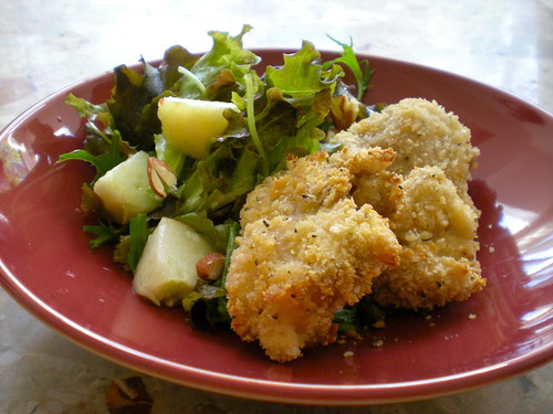 baked chicken nuggets and peach salad
